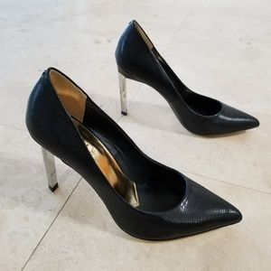Ted Baker snake print black and silver stiletto
